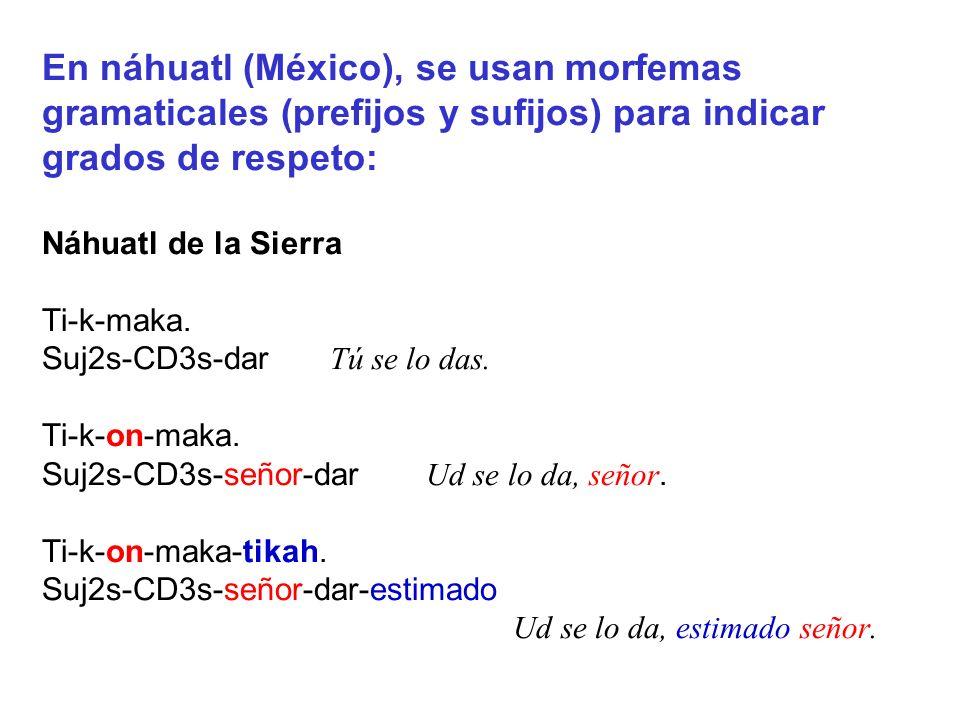 En náhuatl (México), se usan morfemas gramaticales (prefijos y sufijos) para indicar grados de respeto: Náhuatl de la Sierra Ti-k-maka. Suj2s-CD3s-dar