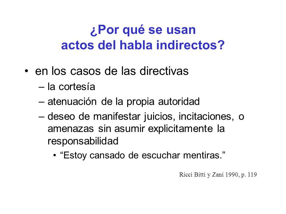 ¿Por qué se usan actos del habla indirectos? en los casos de las directivas –la cortesía –atenuación de la propia autoridad –deseo de manifestar juici