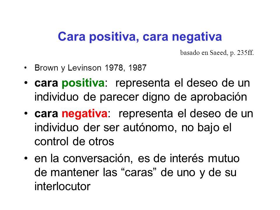 Cara positiva, cara negativa Brown y Levinson 1978, 1987 cara positiva: representa el deseo de un individuo de parecer digno de aprobación cara negati
