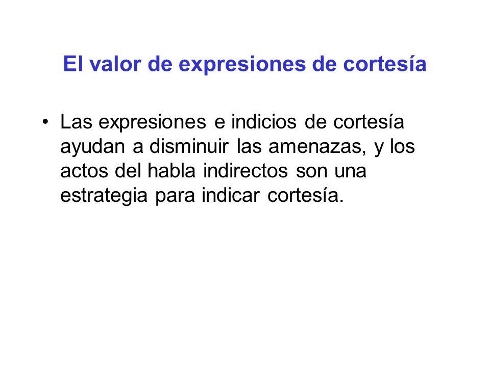 El valor de expresiones de cortesía Las expresiones e indicios de cortesía ayudan a disminuir las amenazas, y los actos del habla indirectos son una e