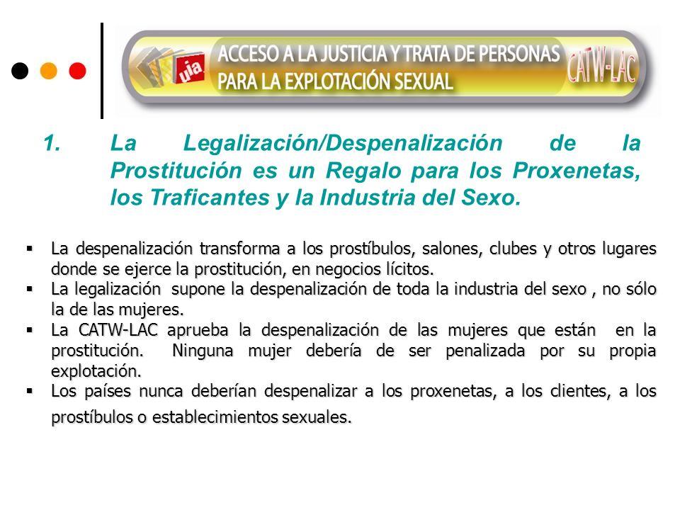 La despenalización transforma a los prostíbulos, salones, clubes y otros lugares donde se ejerce la prostitución, en negocios lícitos. La despenalizac