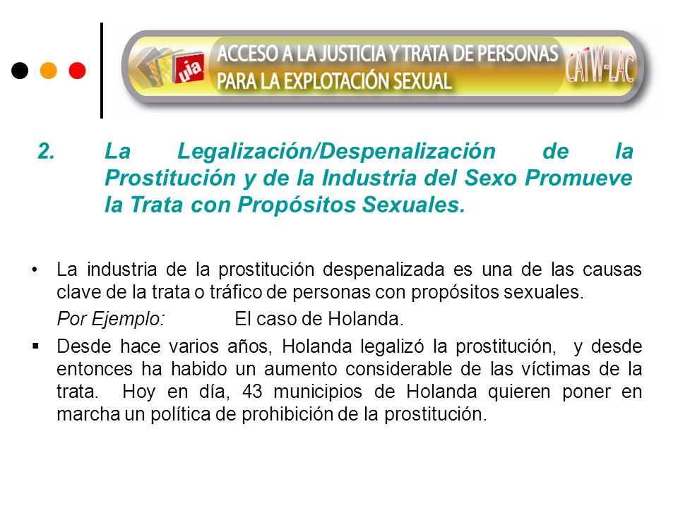 La industria de la prostitución despenalizada es una de las causas clave de la trata o tráfico de personas con propósitos sexuales. Por Ejemplo: El ca