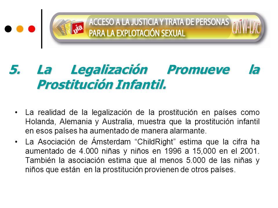 La realidad de la legalización de la prostitución en países como Holanda, Alemania y Australia, muestra que la prostitución infantil en esos países ha