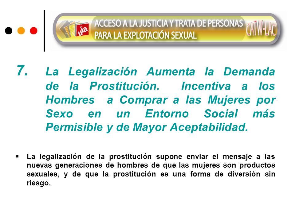 7. La Legalización Aumenta la Demanda de la Prostitución. Incentiva a los Hombres a Comprar a las Mujeres por Sexo en un Entorno Social más Permisible