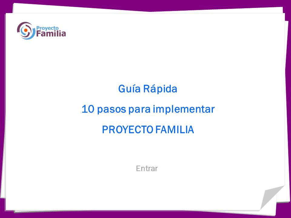 Guía Rápida 10 pasos para implementar PROYECTO FAMILIA Entrar