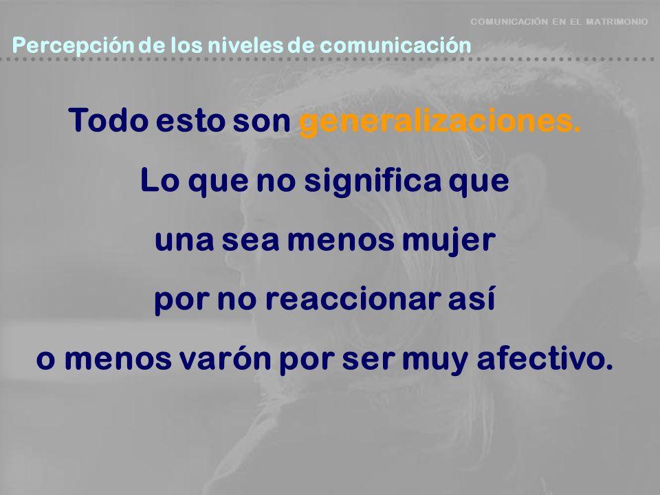 COMUNICACIÓN EN EL MATRIMONIO Percepción de los niveles de comunicación Percepción de los niveles de comunicación Todo esto son generalizaciones. Lo q