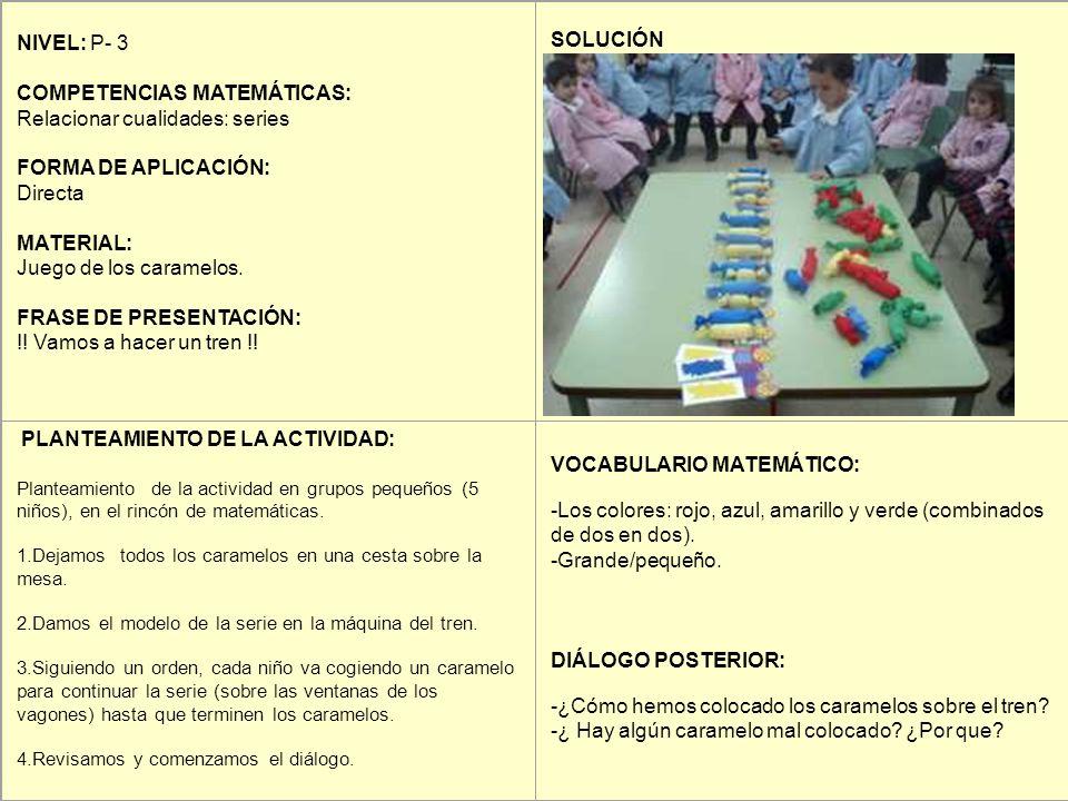 NIVEL: P- 3 COMPETENCIAS MATEMÁTICAS: Relacionar cualidades: series FORMA DE APLICACIÓN: Directa MATERIAL: Juego de los caramelos. FRASE DE PRESENTACI