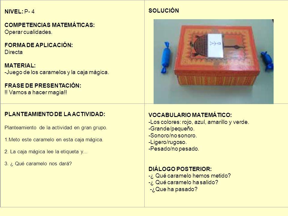 NIVEL: P- 4 COMPETENCIAS MATEMÁTICAS: Operar cualidades. FORMA DE APLICACIÓN: Directa MATERIAL: -Juego de los caramelos y la caja mágica. FRASE DE PRE