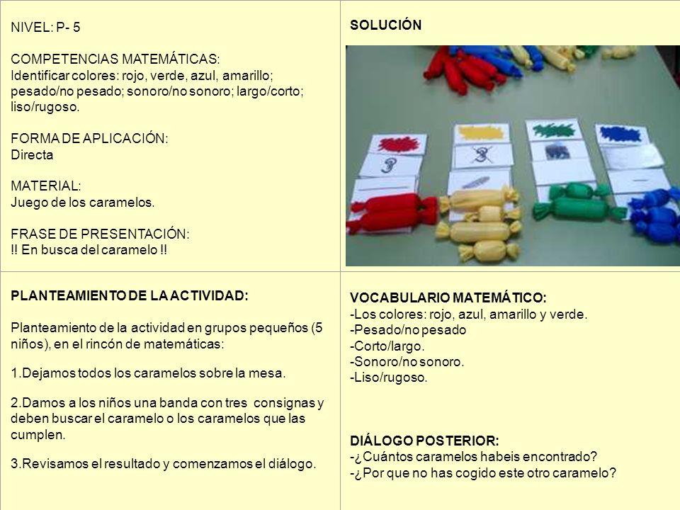 NIVEL: P- 5 COMPETENCIAS MATEMÁTICAS: Identificar colores: rojo, verde, azul, amarillo; pesado/no pesado; sonoro/no sonoro; largo/corto; liso/rugoso.