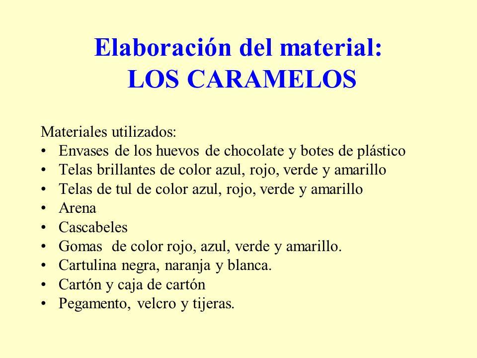 Elaboración del material: LOS CARAMELOS Materiales utilizados: Envases de los huevos de chocolate y botes de plástico Telas brillantes de color azul,