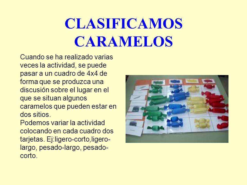 CLASIFICAMOS CARAMELOS Cuando se ha realizado varias veces la actividad, se puede pasar a un cuadro de 4x4 de forma que se produzca una discusión sobr