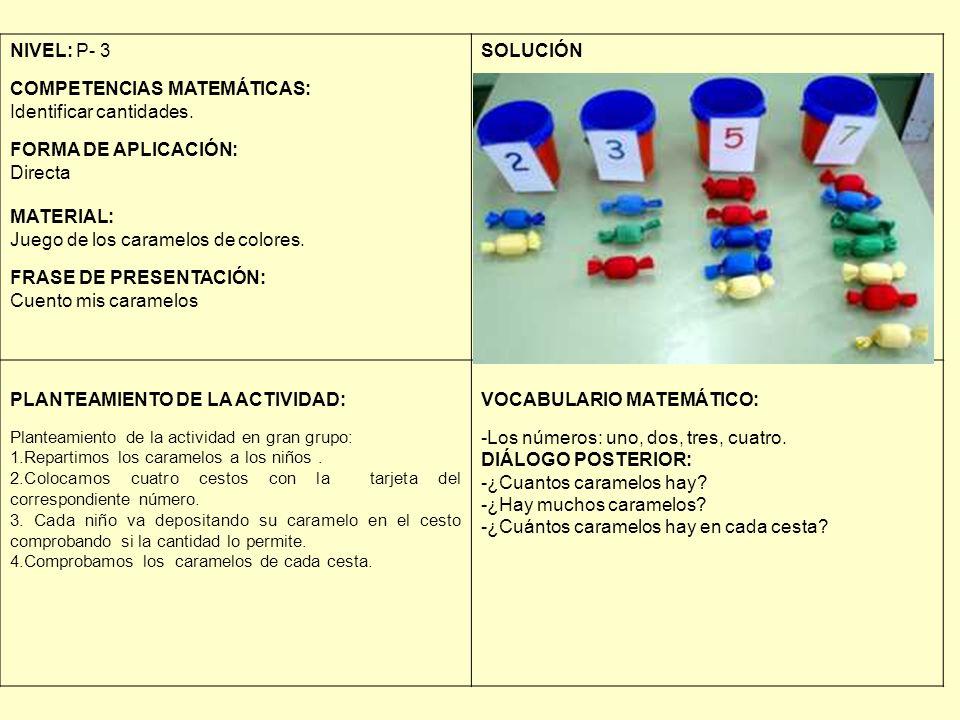 NIVEL: P- 3 COMPETENCIAS MATEMÁTICAS: Identificar cantidades. FORMA DE APLICACIÓN: Directa MATERIAL: Juego de los caramelos de colores. FRASE DE PRESE