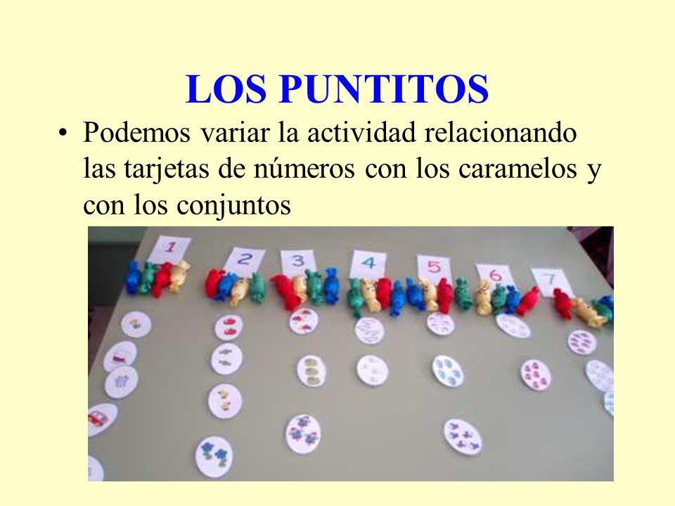 LOS PUNTITOS Podemos variar la actividad relacionando las tarjetas de números con los caramelos y con los conjuntos