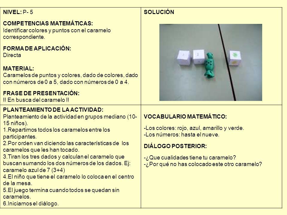 NIVEL: P- 5 COMPETENCIAS MATEMÁTICAS: Identificar colores y puntos con el caramelo correspondiente. FORMA DE APLICACIÓN: Directa MATERIAL: Caramelos d