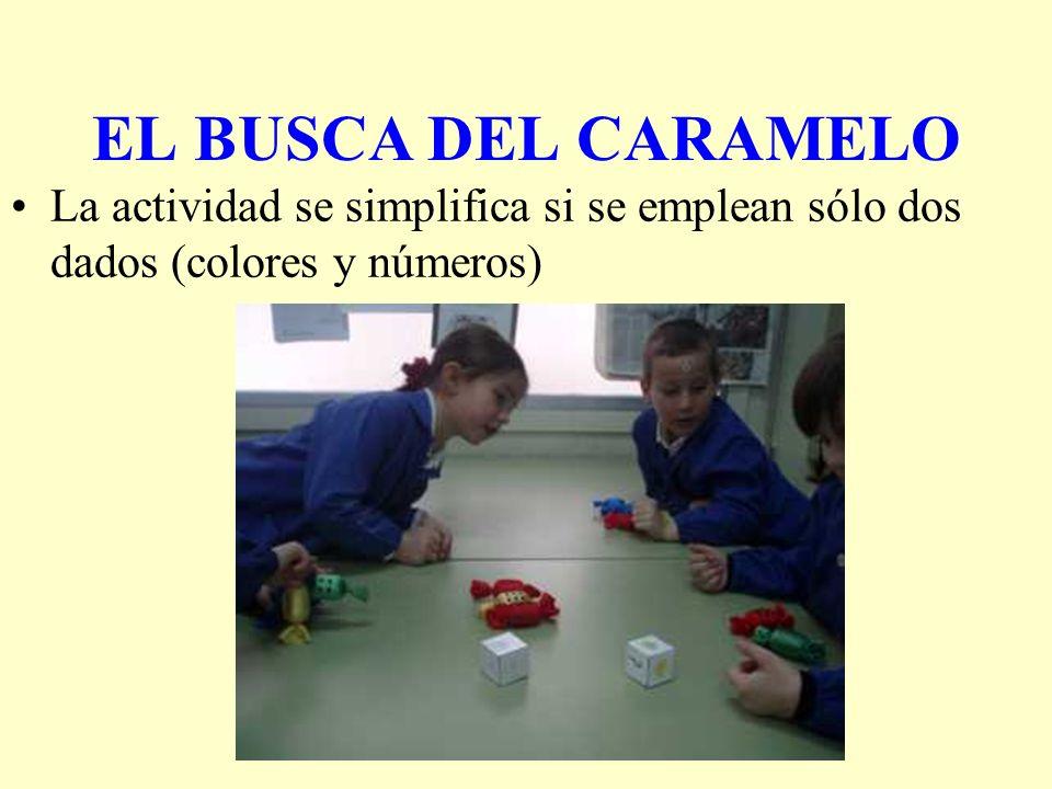 EL BUSCA DEL CARAMELO La actividad se simplifica si se emplean sólo dos dados (colores y números)