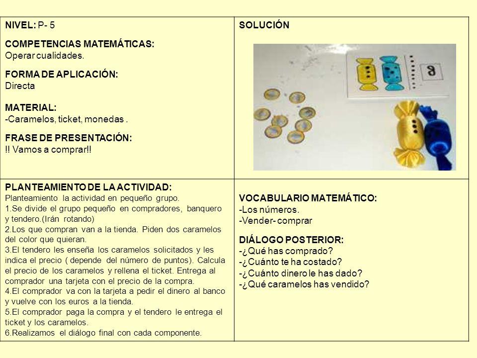 NIVEL: P- 5 COMPETENCIAS MATEMÁTICAS: Operar cualidades. FORMA DE APLICACIÓN: Directa MATERIAL: -Caramelos, ticket, monedas. FRASE DE PRESENTACIÓN: !!