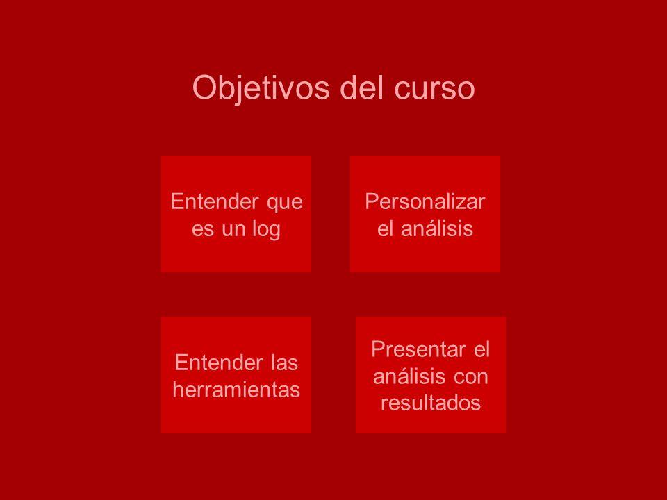 Análisis de logs Objetivos del curso Entender que es un log Personalizar el análisis Entender las herramientas Presentar el análisis con resultados