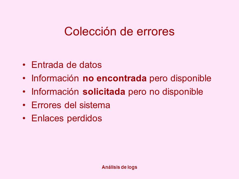 Análisis de logs Colección de errores Entrada de datos Información no encontrada pero disponible Información solicitada pero no disponible Errores del sistema Enlaces perdidos
