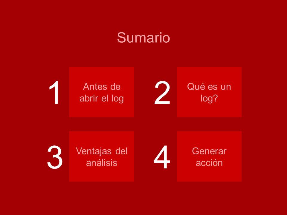 Análisis de logs Sumario Antes de abrir el log Qué es un log? Ventajas del análisis Generar acción 12 34