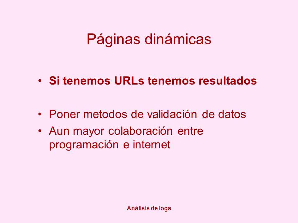 Análisis de logs Páginas dinámicas Si tenemos URLs tenemos resultados Poner metodos de validación de datos Aun mayor colaboración entre programación e