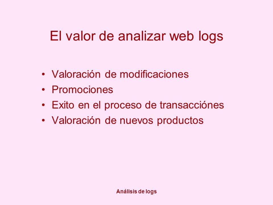 Análisis de logs El valor de analizar web logs Valoración de modificaciones Promociones Exito en el proceso de transacciónes Valoración de nuevos prod