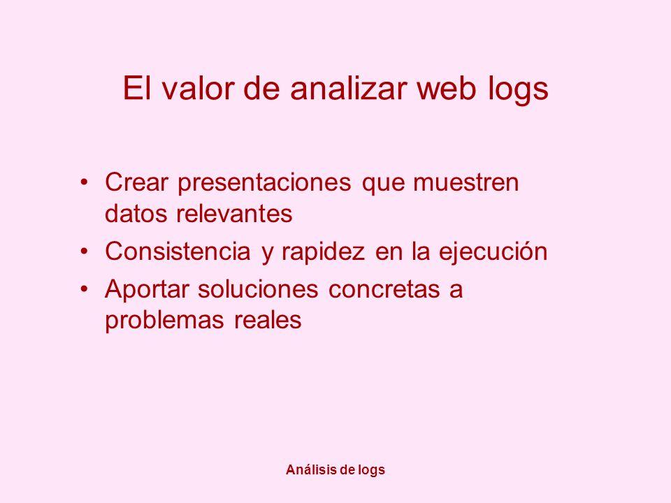 Análisis de logs El valor de analizar web logs Crear presentaciones que muestren datos relevantes Consistencia y rapidez en la ejecución Aportar soluciones concretas a problemas reales