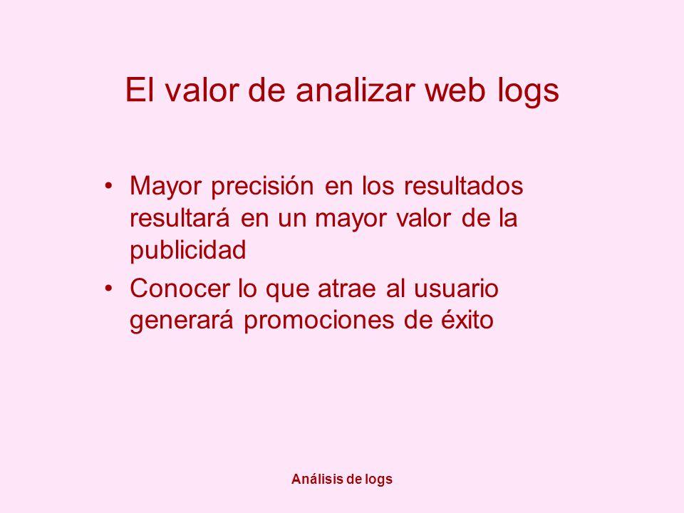 Análisis de logs El valor de analizar web logs Mayor precisión en los resultados resultará en un mayor valor de la publicidad Conocer lo que atrae al usuario generará promociones de éxito
