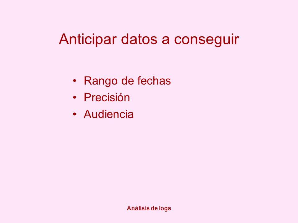 Análisis de logs Anticipar datos a conseguir Rango de fechas Precisión Audiencia