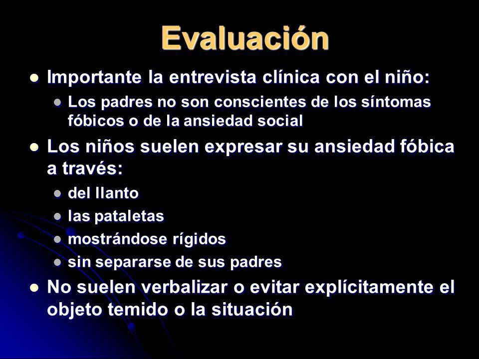 Evaluación Importante la entrevista clínica con el niño: Importante la entrevista clínica con el niño: Los padres no son conscientes de los síntomas f