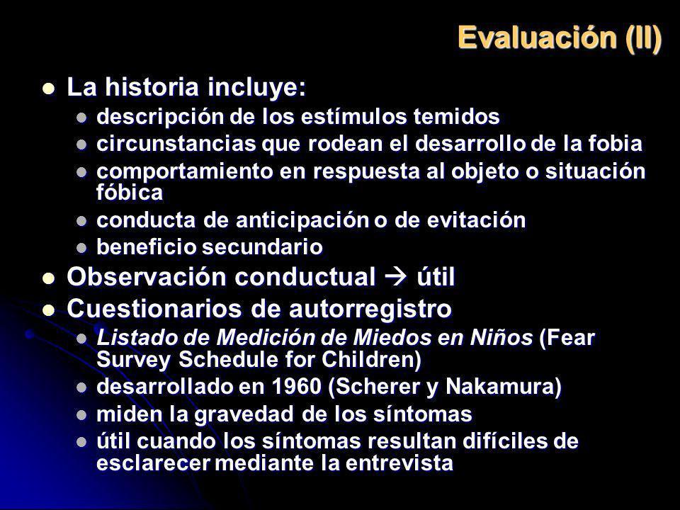 Evaluación (II) La historia incluye: La historia incluye: descripción de los estímulos temidos descripción de los estímulos temidos circunstancias que