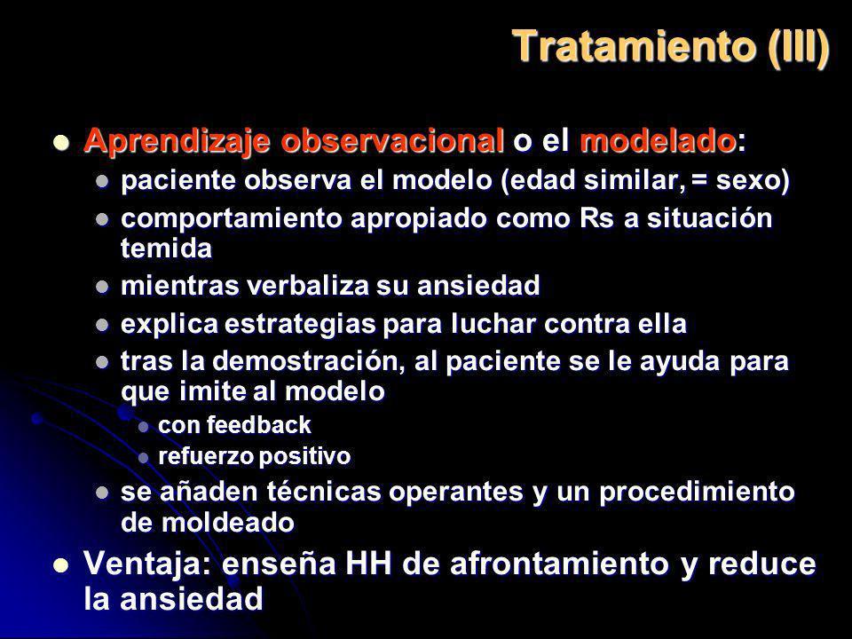 Tratamiento (III) Aprendizaje observacional o el modelado: Aprendizaje observacional o el modelado: paciente observa el modelo (edad similar, = sexo)