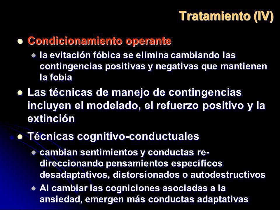 Tratamiento (IV) Condicionamiento operante Condicionamiento operante la evitación fóbica se elimina cambiando las contingencias positivas y negativas
