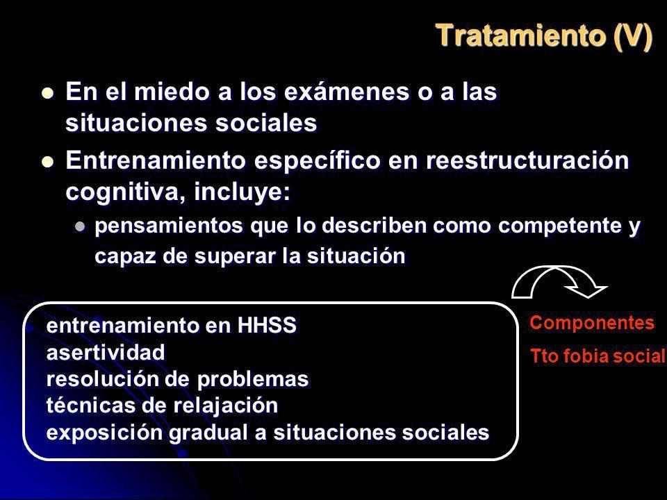 Tratamiento (V) En el miedo a los exámenes o a las situaciones sociales En el miedo a los exámenes o a las situaciones sociales Entrenamiento específi
