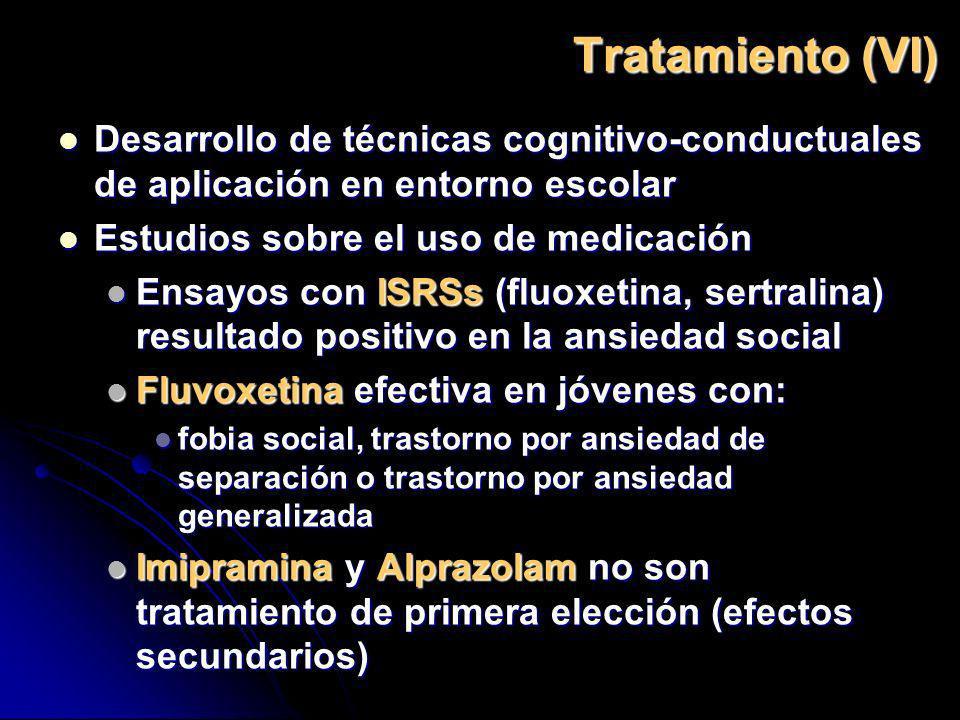 Tratamiento (VI) Desarrollo de técnicas cognitivo-conductuales de aplicación en entorno escolar Desarrollo de técnicas cognitivo-conductuales de aplic