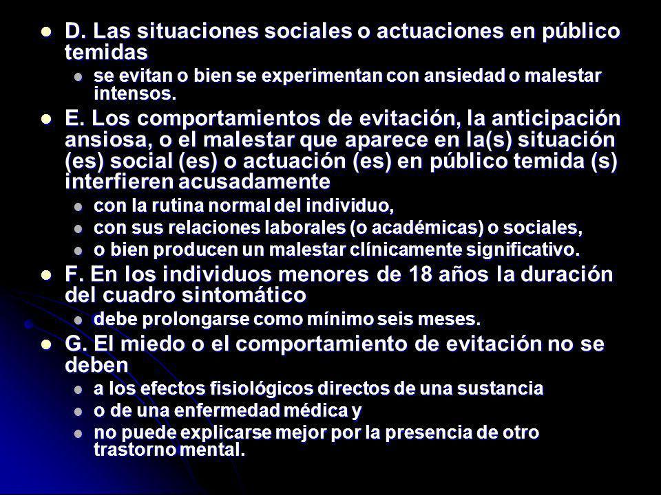 D. Las situaciones sociales o actuaciones en público temidas D. Las situaciones sociales o actuaciones en público temidas se evitan o bien se experime