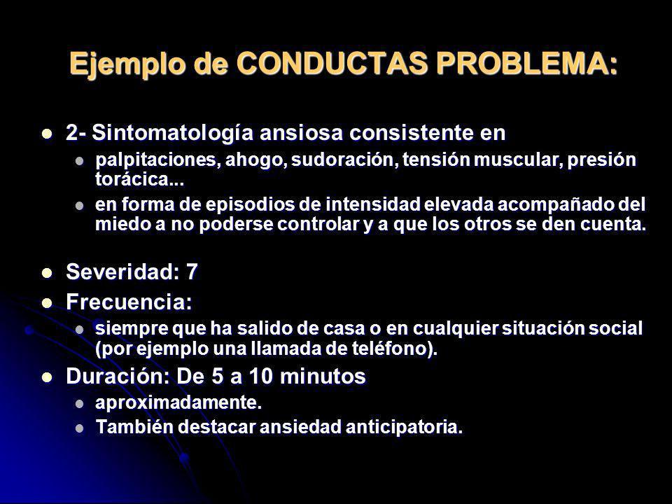 Ejemplo de CONDUCTAS PROBLEMA: 2- Sintomatología ansiosa consistente en 2- Sintomatología ansiosa consistente en palpitaciones, ahogo, sudoración, ten