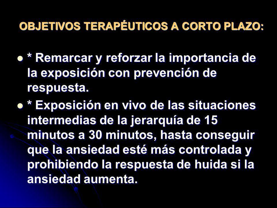 OBJETIVOS TERAPÉUTICOS A CORTO PLAZO: * Remarcar y reforzar la importancia de la exposición con prevención de respuesta. * Remarcar y reforzar la impo