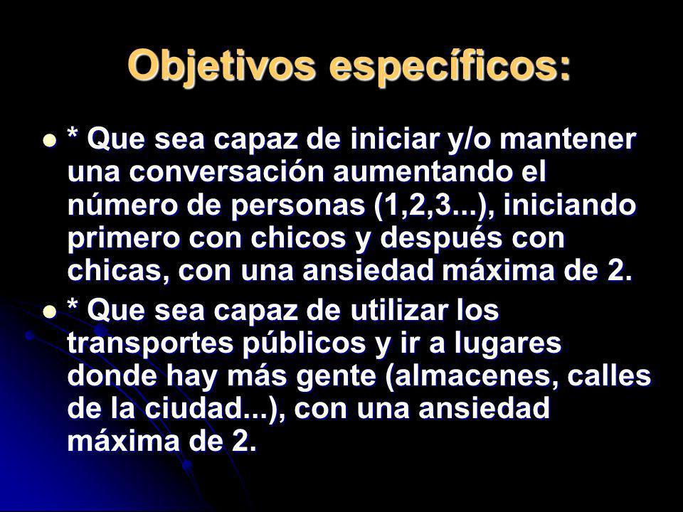 Objetivos específicos: * Que sea capaz de iniciar y/o mantener una conversación aumentando el número de personas (1,2,3...), iniciando primero con chi