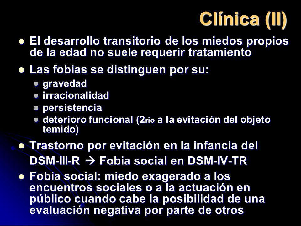 Clínica (II) El desarrollo transitorio de los miedos propios de la edad no suele requerir tratamiento El desarrollo transitorio de los miedos propios