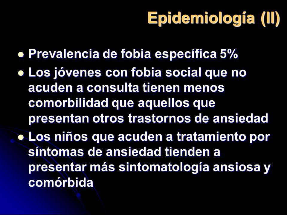 Epidemiología (II) Prevalencia de fobia específica 5% Prevalencia de fobia específica 5% Los jóvenes con fobia social que no acuden a consulta tienen