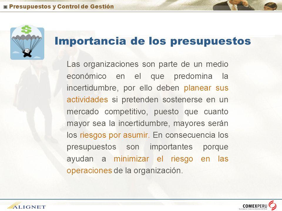 Presupuestos y Control de Gestión Importancia de los presupuestos Las organizaciones son parte de un medio económico en el que predomina la incertidum