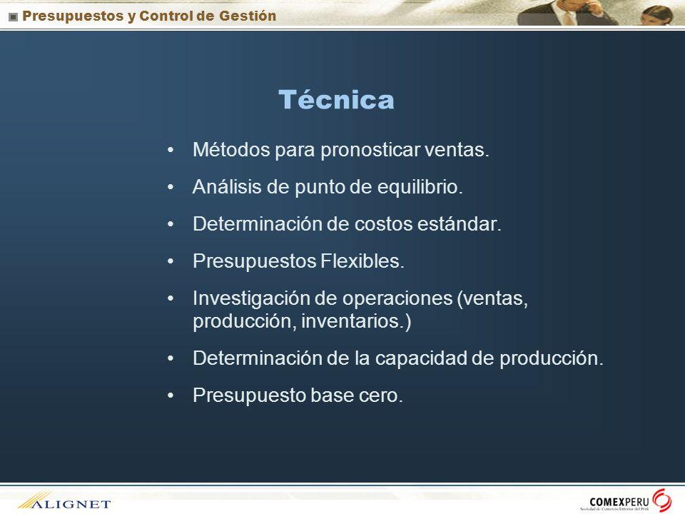 Presupuestos y Control de Gestión Técnica Métodos para pronosticar ventas. Análisis de punto de equilibrio. Determinación de costos estándar. Presupue