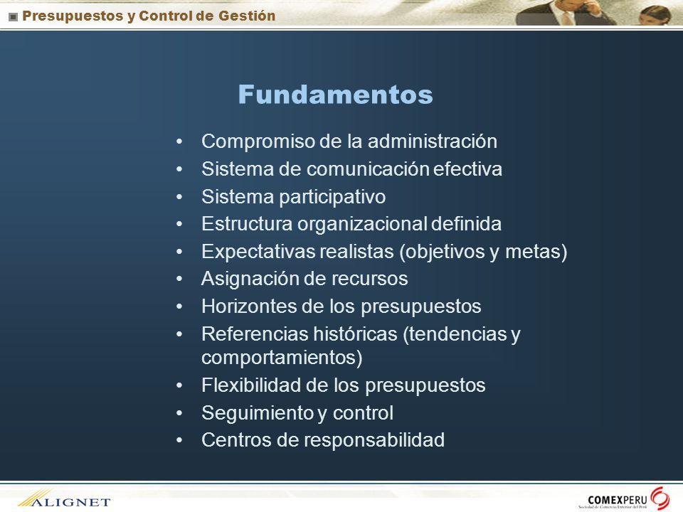 Presupuestos y Control de Gestión Fundamentos Compromiso de la administración Sistema de comunicación efectiva Sistema participativo Estructura organi