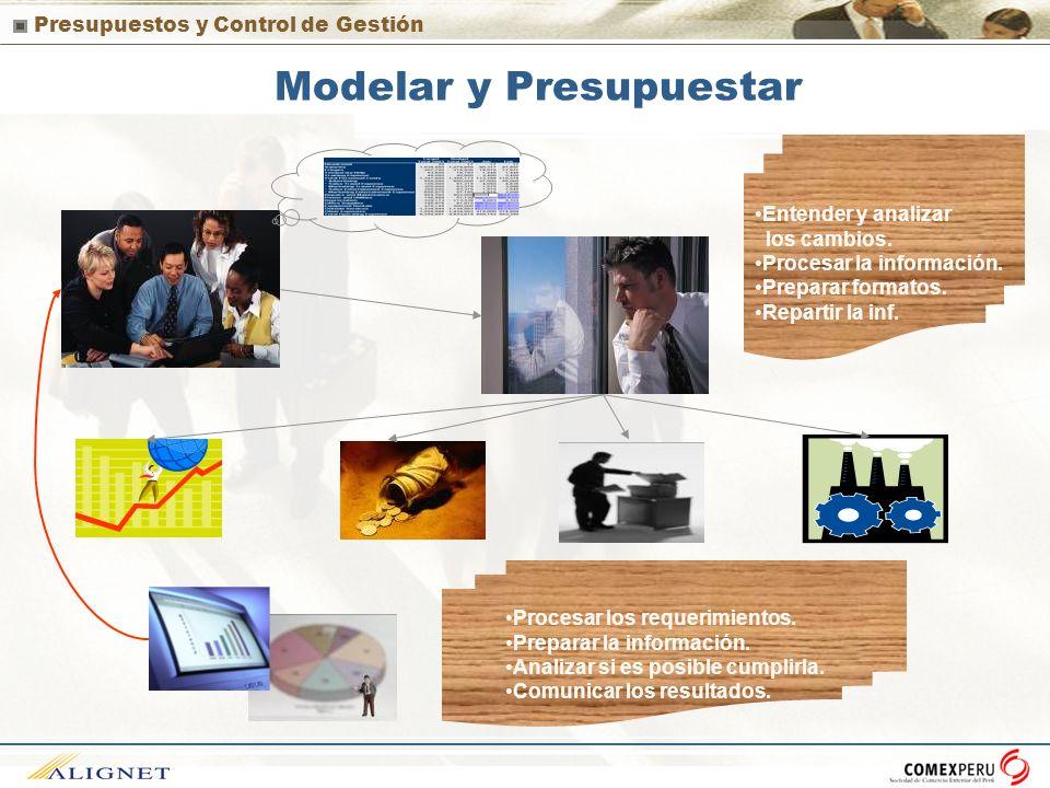 Presupuestos y Control de Gestión Modelar y Presupuestar Entender y analizar los cambios. Procesar la información. Preparar formatos. Repartir la inf.