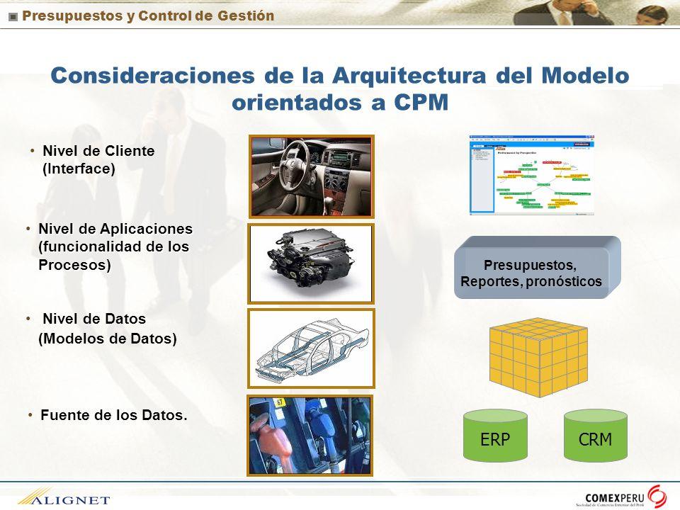 Presupuestos y Control de Gestión Consideraciones de la Arquitectura del Modelo orientados a CPM Nivel de Cliente (Interface) Nivel de Datos (Modelos