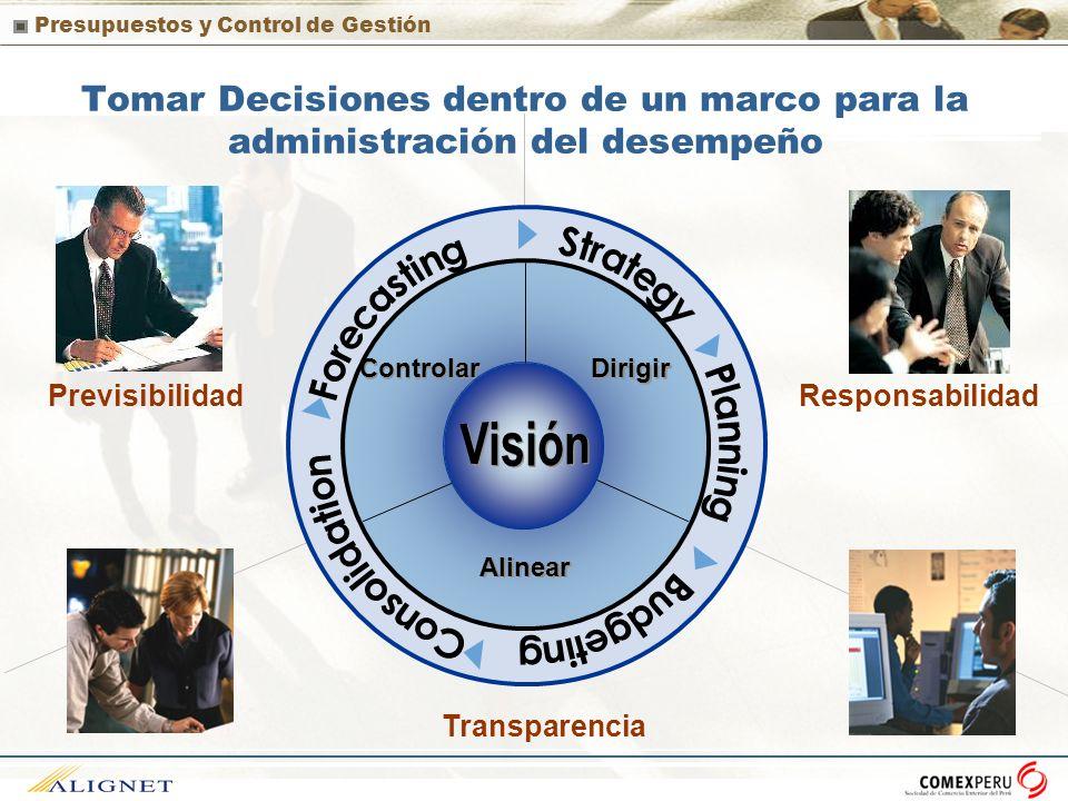 Presupuestos y Control de Gestión Tomar Decisiones dentro de un marco para la administración del desempeño Transparencia Previsibilidad Responsabilida
