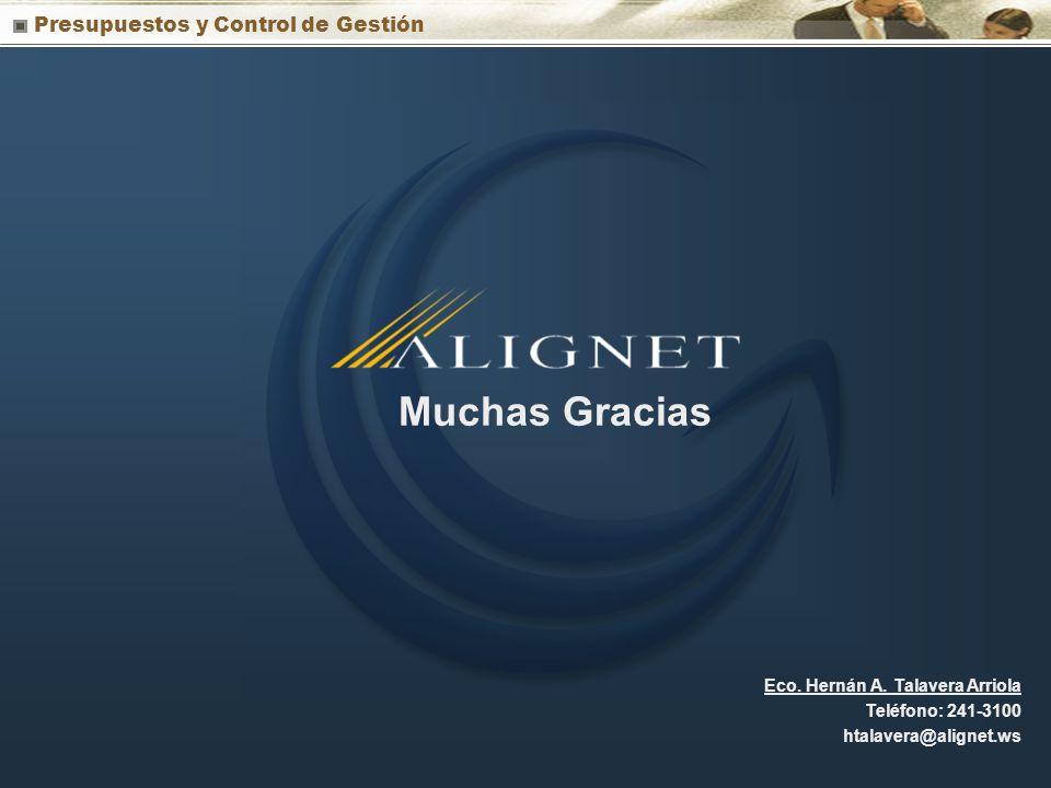 Presupuestos y Control de Gestión Muchas Gracias Eco. Hernán A. Talavera Arriola Teléfono: 241-3100 htalavera@alignet.ws
