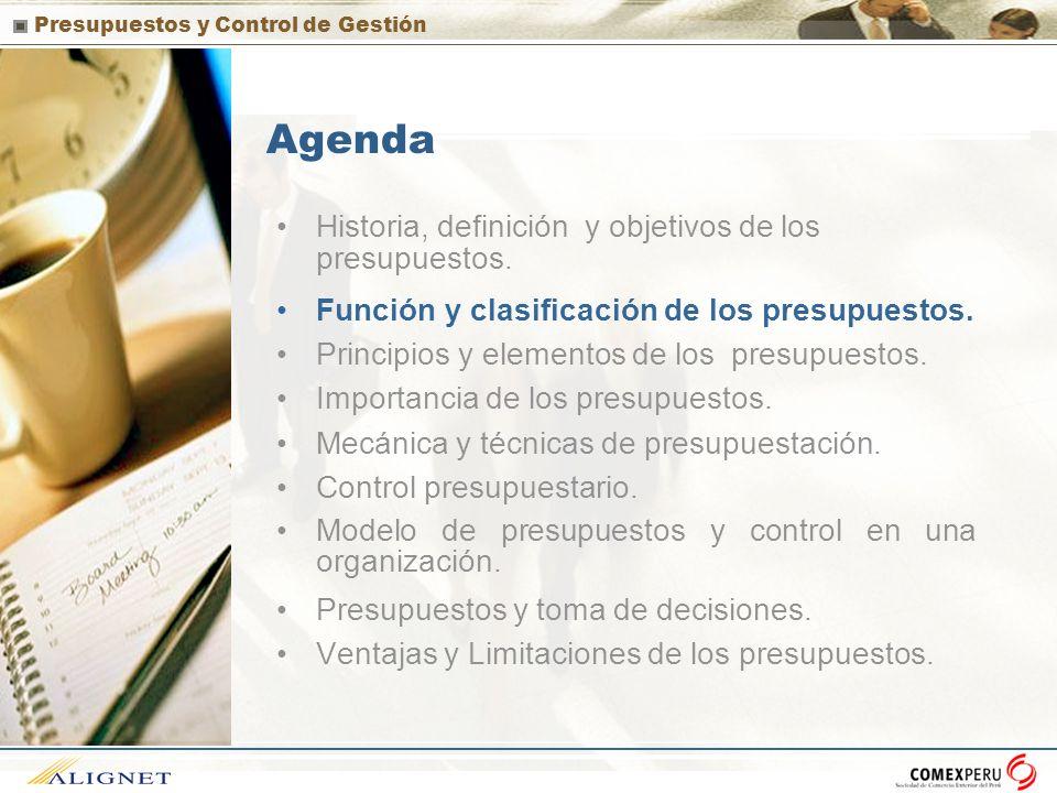Presupuestos y Control de Gestión Función de los presupuestos La principal función de los presupuestos se relaciona con el control financiero de la organización.
