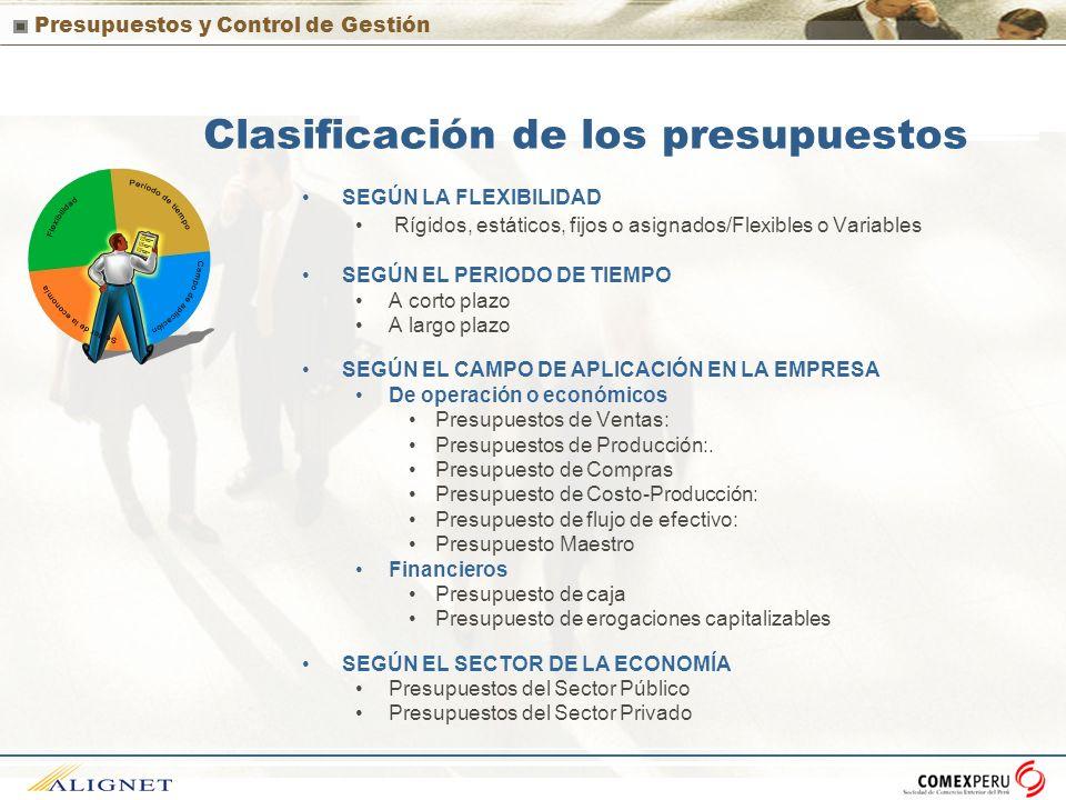 Presupuestos y Control de Gestión Clasificación de los presupuestos SEGÚN LA FLEXIBILIDAD Rígidos, estáticos, fijos o asignados/Flexibles o Variables