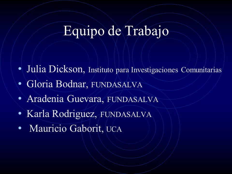 Equipo de Trabajo Julia Dickson, Instituto para Investigaciones Comunitarias Gloria Bodnar, FUNDASALVA Aradenia Guevara, FUNDASALVA Karla Rodriguez, F